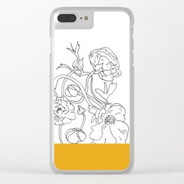 VESSEL - Floral Ink in Mustard - Cooper and Colleen Clear iPhone Case