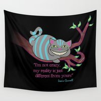 cheshire cat Wall Tapestries featuring Cheshire cat by Pendientera