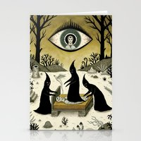 jon snow Stationery Cards featuring Three Shadow People Terrify a Victim During an Episode of Sleep Paralysis by Jon MacNair