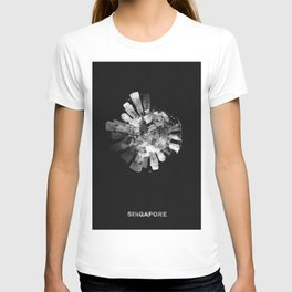 Singapore Black and White Skyround / Skyline Watercolor Painting (Inverted Version) T-shirt