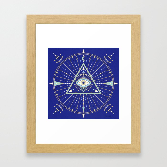 Evil Eye Mandala – Navy Framed Art Print