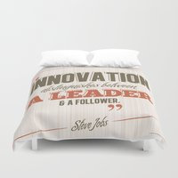 steve jobs Duvet Covers featuring Steve Jobs - Innovation Quote by irosebot
