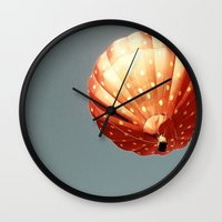 baloon Wall Clocks featuring Strawberry hot air baloon by Wood-n-Images