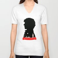 sherlock V-neck T-shirts featuring Sherlock by Duke Dastardly
