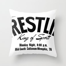 Wrestling Logo From Decades Ago Throw Pillow
