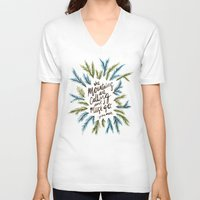 the mountains are calling V-neck T-shirts featuring Mountains Calling by Cat Coquillette