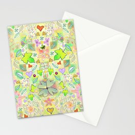 Leaf and Heart Design, includes 4 leaf clovers Stationery Cards