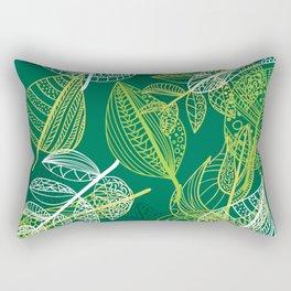 Lovely green leaves pattern illustration Rectangular Pillow