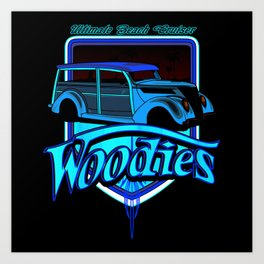 retro woodie car tee Art Print