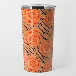 Orange roses on tiger background . Travel Mug