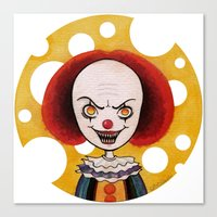 pennywise Canvas Prints featuring Pennywise Cheese by ajd.abelita