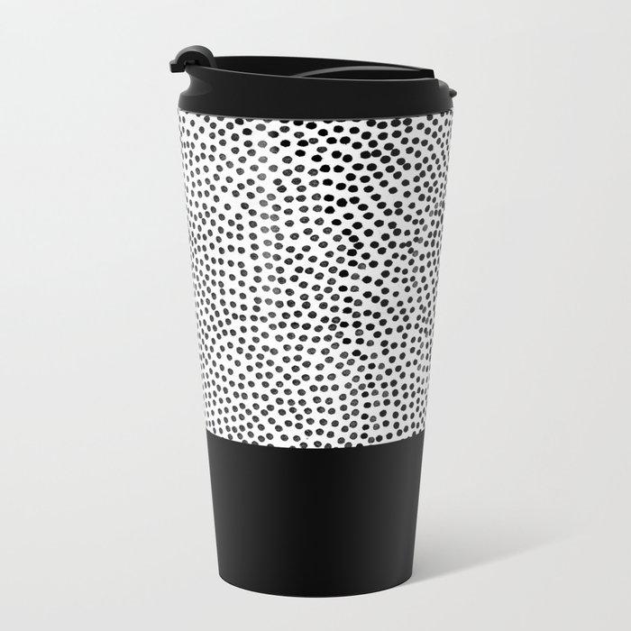 Dots and Black Metal Travel Mug