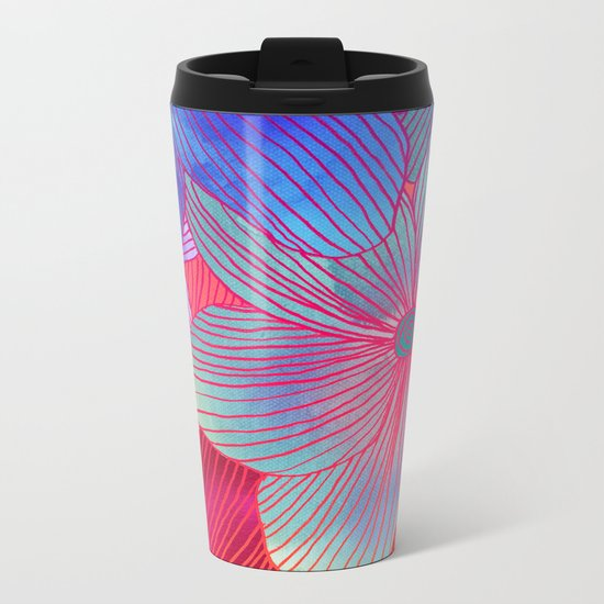 Between the Lines 2 - tropical flowers in purple, pink, blue & orange Metal Travel Mug