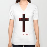 true blood V-neck T-shirts featuring True Blood Revese (THE CROSS) by Brandon sawyer