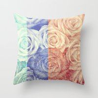 vintage flowers Throw Pillows featuring Vintage Flowers by Del Vecchio Art by Aureo Del Vecchio