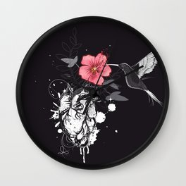 Hummingbird and heart with flower Wall Clock