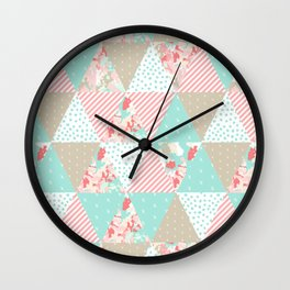 Quilt ender neutral modern quilting pattern triangles handmade gift for new baby Wall Clock