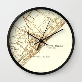 Vintage Map of Myrtle Beach South Carolina (1937) Wall Clock