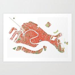 Venice city map classic Art Print