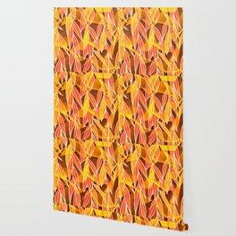 Bright Golden Orange Leaves Floral Print Wallpaper