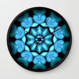 Blue Green Heart Mandala Kaleidoscope Pattern Wall Clock