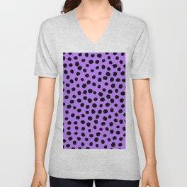 Keep me Wild Animal Print - Purple with Black Spots Unisex V-Neck