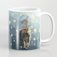 space cat Mugs featuring Space Cat. by Dani Does Art