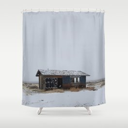 Hopeless, Abandoned, and Alone Under Grey Snow Filled Sky Shower Curtain