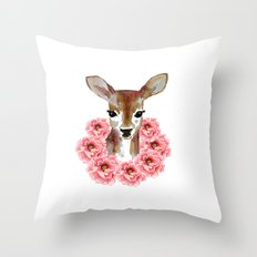 fawn with flower wreath  Throw Pillow