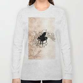 Music, piano with key notes and clef Long Sleeve T-shirt