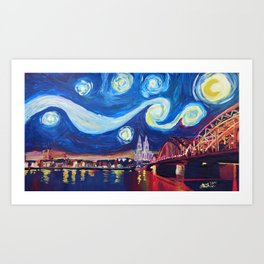 Starry Night in Cologne - Van Gogh Inspirations on River Rhine and Cathedral Art Print