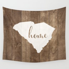 South Carolina is Home - White on Wood Wall Tapestry