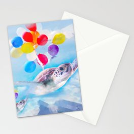 Cute Turtle Flying With Balloons Stationery Cards