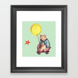 Mr. Bear is a talented scooterist Framed Art Print