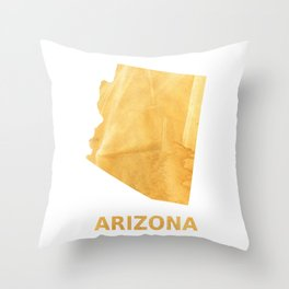 Arizona map outline Sunny yellow watercolor Throw Pillow