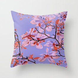 Copper Flowers on violett ground Throw Pillow