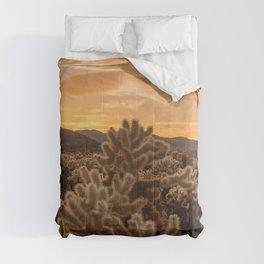 Cholla Cactus Garden, Joshua Tree National Park, Sunset Photography, Desert Life, California Home Decor, Landscape Wall Art  Comforters
