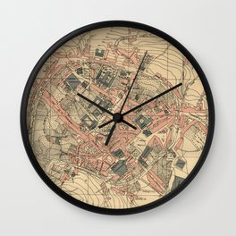 Vintage Map of Lugo Spain (1915) Wall Clock