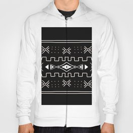 Black and White Mudcloth Ethnic Pattern Hoody