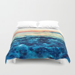 Sea And Sunset Duvet Cover