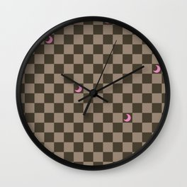 Brown Check with Light Pink Crescent Moons Wall Clock