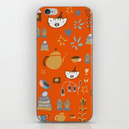 hygge cat and bird orange iPhone Skin