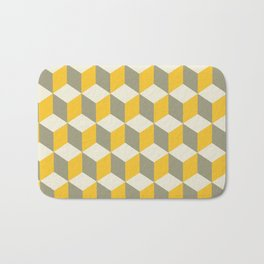 Diamond Repeating Pattern In Yellow Gray and White Bath Mat