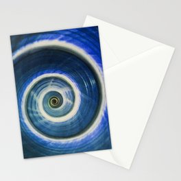 Blue and white spiral shell Stationery Cards