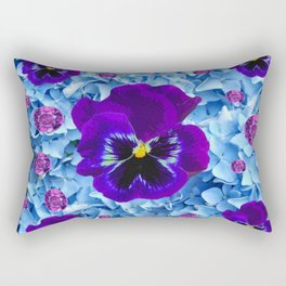 HYDRANGEAS FLORAL & PURPLE PANSIES AMETHYST GEMS Rectangular Pillow