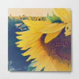 sunflower and little bee Metal Print