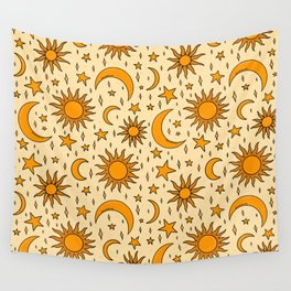 Vintage Sun and Star Print Wall Tapestry