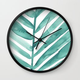 Green Palm Leaf Crop Wall Clock