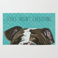 english bulldog Area & Throw Rugs featuring English Bulldog Print by Roxy Makes Things