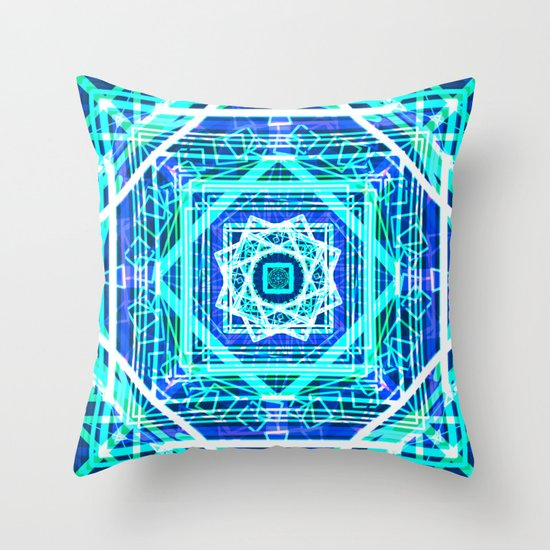 Neon Blue Throw Pillows : Bright Neon Blue Psychedelic Geometric Mandala Throw Pillow by Raylie Society6